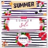Reeks van de bannerontwerp van de de zomerverkoop vector illustratie