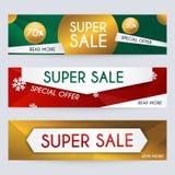 Reeks van de bannersontwerp, kortingen en speciale aanbieding van verkoopkerstmis Stock Afbeeldingen