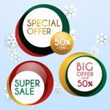 Reeks van de bannersontwerp, kortingen en speciale aanbieding van verkoopkerstmis Sh Royalty-vrije Stock Fotografie