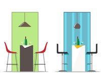 Reeks van de de barlijst en stoelen met een beeld en een fles met glazen Vector illustratie stock illustratie