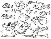 Reeks van de beeldverhaal de Vectorinzameling Hand Getrokken Leuke Vissen royalty-vrije illustratie