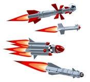 Reeks van de beeldverhaal de militaire raket stock illustratie