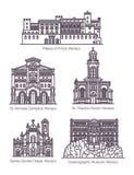 Reeks van de beroemde architectuur van Monaco in dunne lijn vector illustratie
