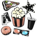 Reeks van de bioskoop de vectorillustratie Ge?soleerde voorwerpen op witte achtergrond Popcorn, ster, pizza, document kopdrank, 3 vector illustratie