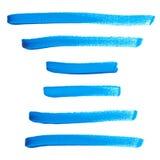 Reeks van de blauwe waterverf van de borstelslag Stock Illustratie
