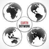 Reeks van de Bol van de Aardeplaneet Vectordotwork Royalty-vrije Stock Foto