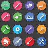 Reeks van de Bouw Simbols in Vlak Ontwerp stock illustratie