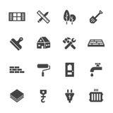 Reeks van de Bouw Simbols in Vlak Ontwerp Stock Foto's