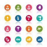 Reeks van de Bouw Simbols in Vlak Ontwerp Stock Afbeelding