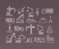Reeks van de Bouw Simbols in Vlak Ontwerp Kranen Dunne Lijnvector Stock Fotografie