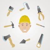Reeks van de bouw van hulpmiddelen Stock Fotografie