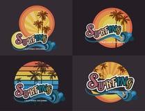 Reeks van de brandingstypografie van Californië, t-shirtgrafiek, vector voor Stock Foto's