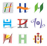 Reeks van de Brief H van Pictogrammen en van de Elementen van het Embleem Stock Fotografie