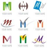 Reeks van de Brief M van Pictogrammen en van de Elementen van het Embleem stock illustratie