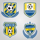 Reeks van de Clubembleem van de Voetbalvoetbal vector illustratie