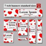 Reeks van de Dag van Valentine van Webbanners Stock Afbeelding