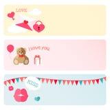 Reeks van de de Dag de Vectorbanner van Valentine Royalty-vrije Stock Fotografie