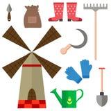 Reeks van de de landbouw het oogsten en tuin hulpmiddelen Stock Afbeelding