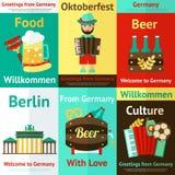 Reeks van de de reis retro affiche van Duitsland Royalty-vrije Stock Afbeeldingen