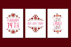 Reeks van de de Valentijnskaartendag van Heilige getrokken de groetkaarten hand Stock Foto