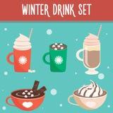 Reeks van de de winter de hete drank Royalty-vrije Stock Afbeeldingen