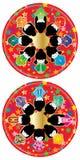 Reeks van de de zononderlegger voor glazen van de Japansespop de rode royalty-vrije illustratie