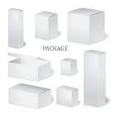 Reeks van de doos van het kartonpakket spot omhoog, malplaatje voorraad vector illustratie