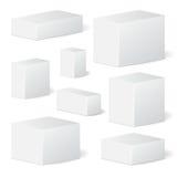 Reeks van de doos van het kartonpakket spot omhoog, malplaatje voorraad royalty-vrije illustratie
