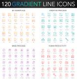 reeks van 120 de dunne de lijnpictogrammen van de in gradiëntstijl van mijn werkplaats, creatief proces, menselijke productivitei stock illustratie