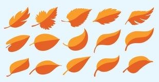 Reeks van van de ecoherfst van bladgoudnormen van het het symboolpictogram geïsoleerd het embleemblad/bladerenvector vector illustratie