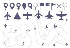 Reeks van de eenvoudige lijn van de vliegtuigroute vector illustratie