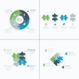 Reeks van de figuurzaag van bedrijfs raadselstukken infographics Royalty-vrije Stock Foto's