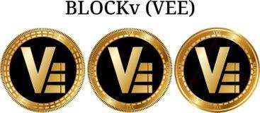 Reeks van de fysieke gouden V van muntstukblockv Stock Afbeelding