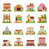 Reeks van de gedetailleerde kleurrijke van de de stijl moderne bouw van de plattelandshuisjewoningbouw vlakke vectorillustratie Stock Foto's