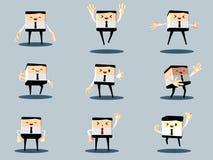 Reeks van de gelukkige bureau en bedrijfsmens Royalty-vrije Stock Afbeelding