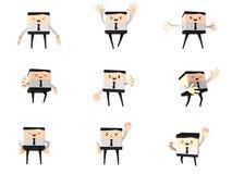 Reeks van de gelukkige bureau en bedrijfsmens, 3d leuk beeldverhaal Royalty-vrije Stock Afbeelding