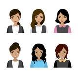 Reeks van de gezichts de Aziatische vrouw stock illustratie
