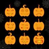 Reeks van de gloeiende pompoen van Halloween met verschillende uitdrukkingen Stock Afbeelding