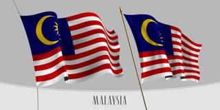 Reeks van de golvende vlag van Maleisië op geïsoleerde vectorillustratie als achtergrond vector illustratie