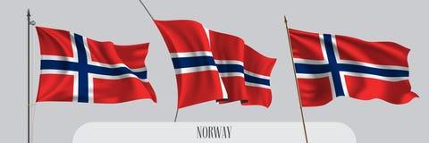 Reeks van de golvende vlag van Noorwegen op ge?soleerde vectorillustratie als achtergrond royalty-vrije illustratie