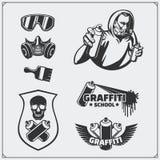 Reeks van de graffitischool en straat kunstetiketten, kentekens, emblemen en ontwerpelementen Royalty-vrije Stock Afbeeldingen