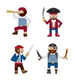 Reeks van de grappige vector van het piraten vlakke beeldverhaal Royalty-vrije Stock Fotografie