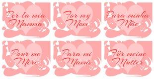 Reeks van de groetkaart van de moedersdag in verschillende talen Stock Afbeeldingen