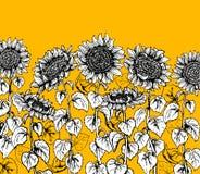 Reeks van de hand getrokken Grafische lijn van de zonnebloem uitstekende schets stock illustratie