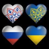 Reeks van de harten van vlaggen van de Oekraïne Rusland Stock Afbeelding