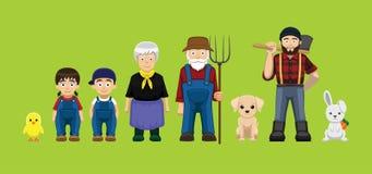 Reeks van de het Beeldverhaal Vectorillustratie van het divers Landbouwbedrijf de Leuke Karakter stock illustratie