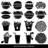 Reeks van de het zwarte voedsel en drank van het snel voedselpictogram Royalty-vrije Stock Fotografie