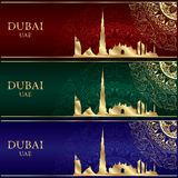 Reeks van de horizonsilhouet van Doubai op uitstekende achtergronden Stock Foto's
