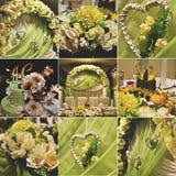 Reeks van de huwelijks de bloemendecoratie Stock Foto