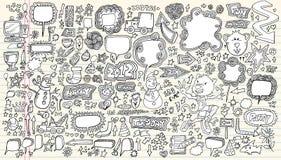 Reeks van de Illustratie van de Krabbel van het notitieboekje de Vector stock afbeelding